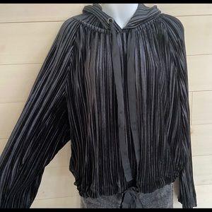 {zara} velvet ribbed hoodie sweatshirt